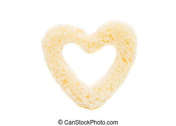 bread heart on white background