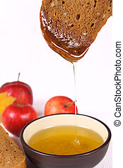 Bread, honey and apples