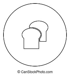 Bread icon black color in circle outline vector illustration