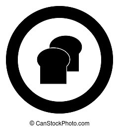 Bread icon black color in circle vector illustration...