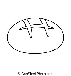 Bread icon in outline style isolated on white background. Bread symbol stock vector illustration.