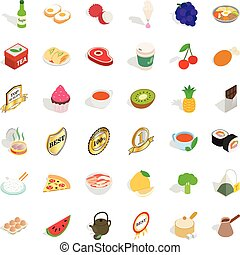 Bread icons set, isometric style