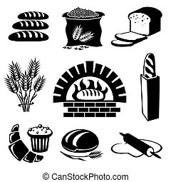 set of vector silhouette icons of bread and pastry