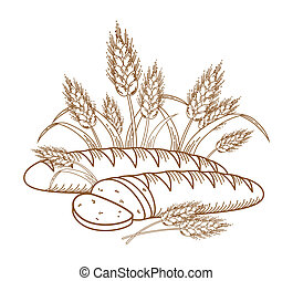 Bread - Illustration of ripe ears and bread for your...