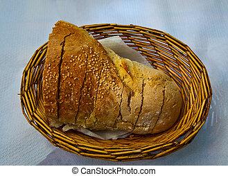 Bread in a basket.