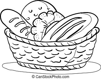 Food: tasty fresh bread, loafs and rolls in a basket, contour