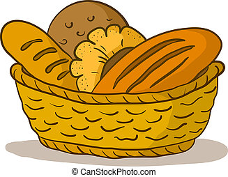 Bread in a basket - Food: tasty fresh bread, loafs and rolls...