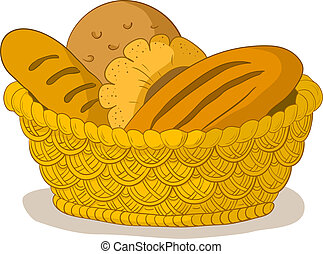 Vector, food: tasty fresh bread, loafs and rolls in a wattled basket