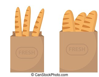 Bread in a paper bag. Loaf, Baguette in the papers package. Vector illustration, clip art.