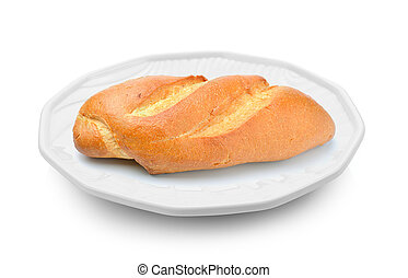 bread in a plate on white background