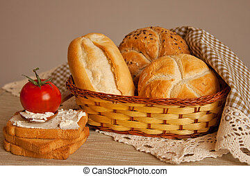 bread in basket and French toast
