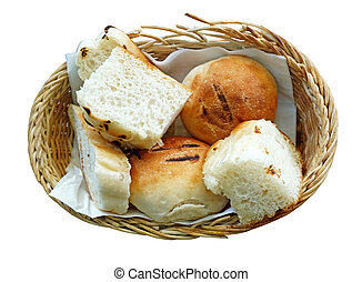 Bread in basket isolate on white background