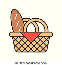 Bread in picnic basket, Food set, filled outline icon