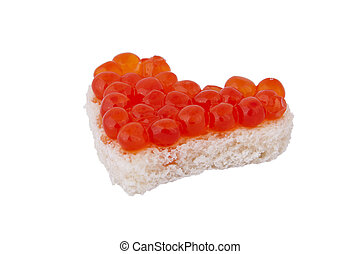 Bread in the form of a heart and red caviar