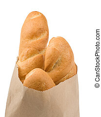bread isolated in paper bag
