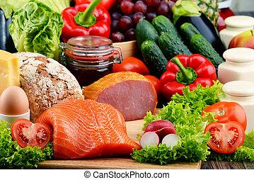 bread, Kött, grönsaken, mat, frukt, inklusive, organisk, Mejeri