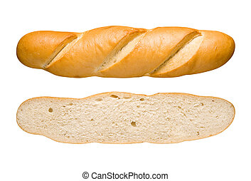 Bread Loaf and Slice Isolated on a white background