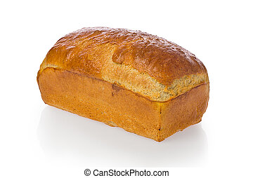 Fresh baked homemade bread loaf against a white background.