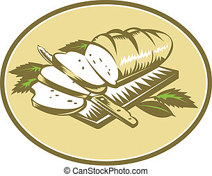 Illustration of loaf of bread sliced on chopping board with knife and leaves done in retro woodcut style.