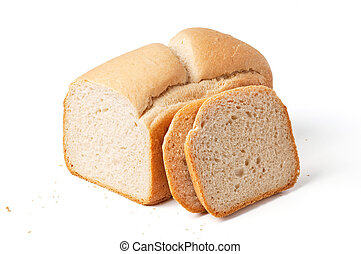Bread loaf with slices isolated on white