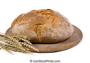 Bread loaf with wheat isolated 1