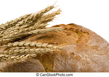 Bread loaf with wheat isolated 3