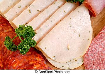 Bread meat on cutting board