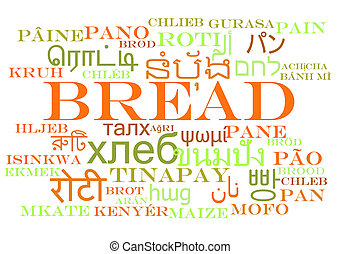 Bread multilanguage wordcloud background concept