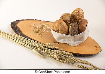 bread, neben, lies, weißes, aufgeschnitten, messer, brett, ...