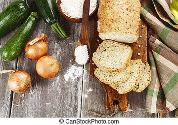 bread, noha, cukkini, és, vöröshagyma