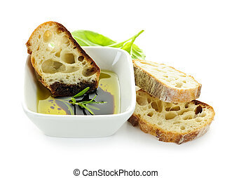Bread olive oil and vinegar - Italian food appetizer of ...