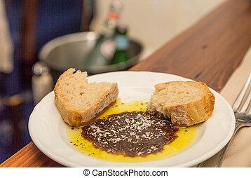 bread, olivenöl, und, balsamessig