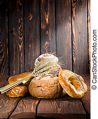 Bread on a old wooden boards