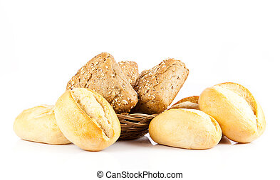 Bread on a white background. delicious buns isolated on...