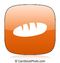 bread orange square web design glossy icon