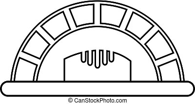 Bread oven icon , outline style