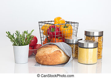 Bread, pasta, millet, vegetables and rosemary