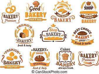 Bread, pastry and bakery shop icons or symbols