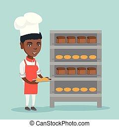 bread., piekarz, młody, dzierżawa, afrykanin, taca