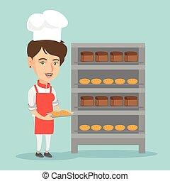 bread., piekarz, młody, dzierżawa taca, kaukaski