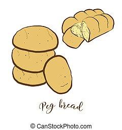 bread, pløk, farvet, affattelseen