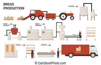Bread production process vector illustration. Cartoon info education poster with automated processing line of bread product baking machines industry plant, conveyor bakery belt equipment and workers