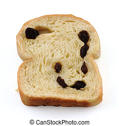 bread raisin isolated on white background with Clipping Path
