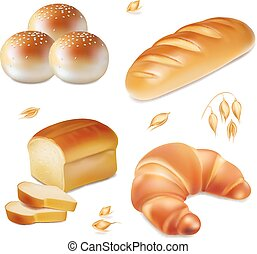 Bread realistic vector bakery icons set