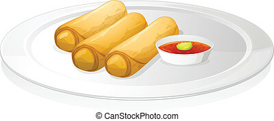 illustration of bread roll and sauce on a white background