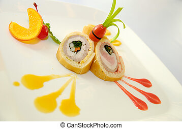 Bread roll with ham, cheese, carrot on the plate
