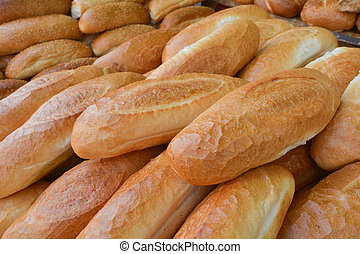Bread rolls at a bakery in the market in Jerusalem, Israel. Food background and texture