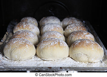Bread rolls in the oven - A tray of home-baked baps or ...