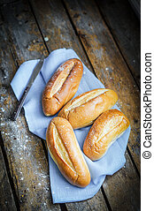 Bread Rolls On Rustic Wooden Background