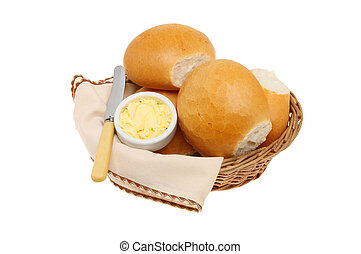 Bread rolls - Crusty bread rolls with butter a knife and...